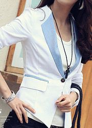 contrast trim lapel single-breasted fitted jacket  CODE: NAKJ11-1029  Price: SG $108.65(US $87.62)