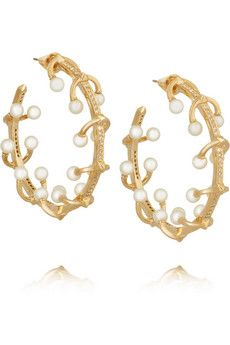 Eddie Borgo Pierced gold-plated, crystal and freshwater pearl earrings | NET-A-PORTER