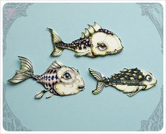 Mini Fish Paper Dolls  Articulated Fish Paper Dolls by theFiligree, $10.00