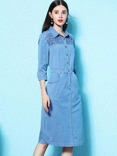 Fashion Simple Oversize Denim Blue Turn Down Collar Bodycon Dress