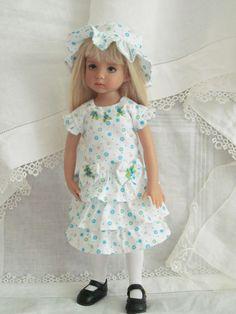 "13"" Effner Little Darling BJD fashion aqua  lime OOAK set handmade by JEC"