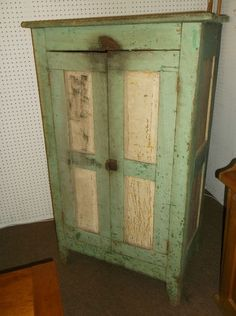 1850's Old Green Painted Jelly Cupboard, Pie Safe, Original Untouched Condition | eBay
