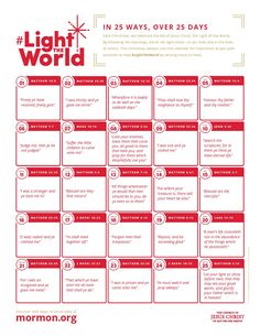 25 Ways, 25 Days Calendar #LightTheWorld