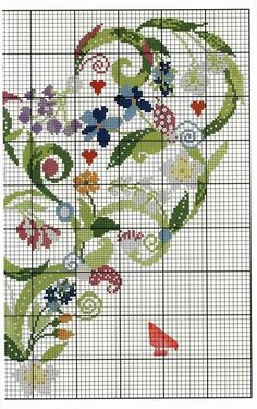 Cross-stitch Floral Heart, part color chart on part 1 Cross Stitch Needles, Cross Stitch Pictures, Cross Stitch Heart, Cross Stitch Samplers, Cross Stitch Flowers, Cross Stitching, Cross Stitch Embroidery, Embroidery Patterns, Cross Stitch Designs