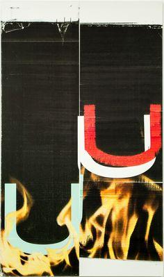 "Wade Guyton [USA] (b 1972)  ~  ""Untitled"", 2005. Epson Ultra Chrome inkjet on linen (229 x 135 cm). | #art #painting #art_print #abstract_art"