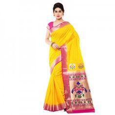 Yellow - Light Pink Art Silk Saree