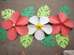 Moana birthday part - Paper Flower Backdrop Wedding Flamingo Party, Flamingo Birthday, Luau Birthday, Hawaiian Birthday Parties, Birthday Wall, Aloha Party, Hawaiian Luau Party, Beach Party, Hawaiian Crafts