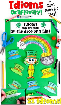 This Saint Patrick's Day activity features idioms and is ideal for upper elementary students! Students identify the meanings of the 21 idioms on the worksheets, and then assemble the craftivity. It makes a great bulletin board or hall display for the month of March!