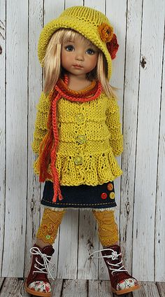 Dianne Effner Doll 13 inches. Did you know you can make a lot of money selling tiny knitted pieces for small dolls? Look on ebay, and etsy! We doll collectors WANT little sweaters for our dolls. And hats and dresses.