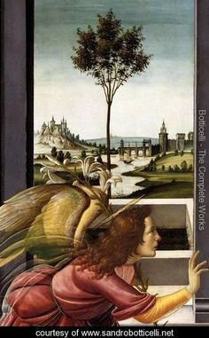 Cestello Annunciation (detail 1), 1489-90 by Sandro Botticelli.  Pinned by www.mygrowingtraditions.com