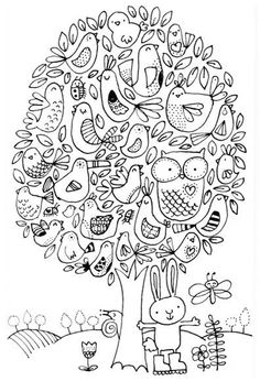 Cute adult coloring page - tree with birds, bunny, and butterfly