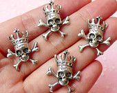 Skeleton Charms Skull Charm w/ Cross (4pcs) (18mm x 22mm / Tibetan Silver) Pendant Bracelet Earrings Zipper Pulls Bookmarks Keychains CHM171