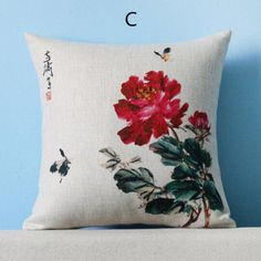 Flower pillow Chinese style couch cushions decorative home 18 inch