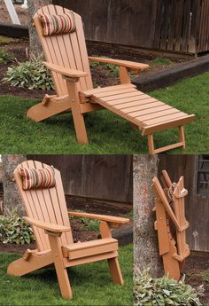 Polywood Adirondack chair -  folding and reclining with built-in ottoman for great versatility and comfort.  Great outdoor furniture piece for the patio, lawn, or deck.  Amish Made in the USA
