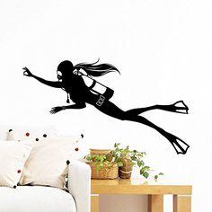 Wall Decals Diving Girl Scuba Diver Deep Sea Ocean Extreme Sports Sportsman Gift Kids Dorm Vinyl Sticker Wall Decor Murals Decal: Amazon.co.uk: Kitchen & Home