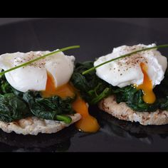 ❝My Saturday lunch - two rice cakes with spinach & two poached eggs.❞