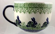 Polish Pottery Large 16 Ounce Mug Latte Soup Chili P324 Bunny Rabbit in Collectibles, Kitchen & Home, Kitchenware | eBay