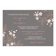 Coral Grey Floral Wedding Invitation Cards