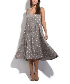 Taupe Polka Dot Linen Tiered Sleeveless Dress