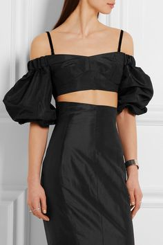 3babb758bf95e Alessandra Rich - Off-the-shoulder cropped silk-moire top. Going Out TopsBlack  ...