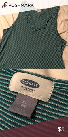 5608f795d358e Teal and white stripe old navy tank top Cute and loose and comfy worn a few  times when pregnant but got too small really quick Old Navy Tops Tank Tops