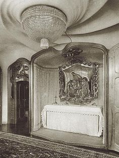 Old photograph of the chapel cabinet by Antoni Gaudi Casa Batllo. This amazing object is no longer whole. The altarpiece is now located at t...
