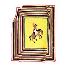 Kids Cowboy Blanket Crochet Pattern Vintage Western Afghan or