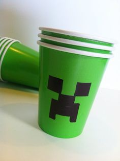 Creeper Cups for a Minecraft Party. Get too close to a creeper (dunkard) and they'll explode! Be careful. ;)