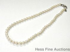 Scarce 18k White Gold AA Mikimoto 6.5-6mm Akoya Pearl Strand Necklace 16.5in #Mikimoto #StrandString