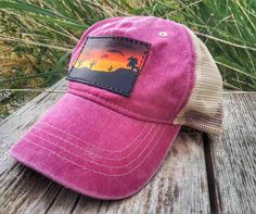 Hand Tooled Hand Painted Custom Leather Snapback Mesh Patch Cap Pink with Desert Sunset Horse
