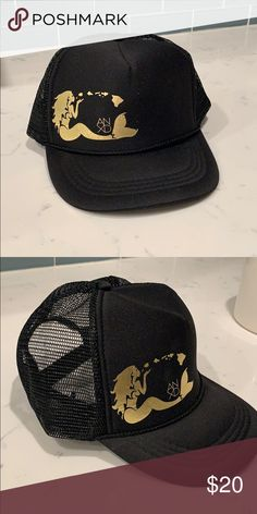 49f9283e Mermaid hat Black and gold mermaid trucker hat. Mesh backing with  adjustable strap. New