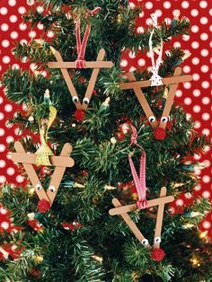 Crafts-Stick Rudolph for those rainy, snowy days when you need something to do.  Paint or markers, craft sticks, glue, eyes, red pom pom and piece of ribbon.  Simple kid fun. BHG