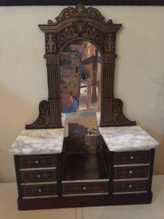 antique/vintage Waltershausen dolls house - Kredenz - Side board with mirror   eBay