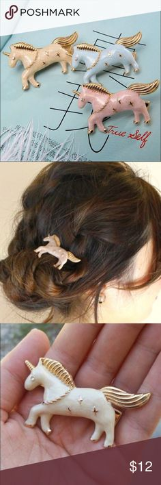 Unicorn Pegasus Horse Gold Enamel Hair Clip Pin Unicorn Pegasus Horse Gold Enamel Hair Clip Pin --- Listing is for one hair clip Boutique Accessories Hair Accessories
