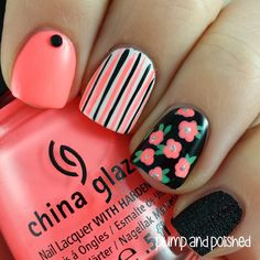 LOVE FOR LACQUER: {Guest Post} Plump & Polished Floral Nail Art Look!