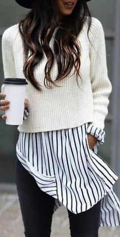 cute fall outfit / hat + white sweater + stripped shirt + jeans