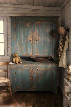 Cinnamon Creek Blue Step Back Cupboard Bowling Green, KY Primitive Cabinets, Primitive Furniture, Primitive Antiques, Country Furniture, Country Primitive, Antique Furniture, Painted Furniture, Primitive Decor, Primitive Homes