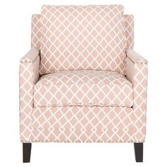 Birch wood arm chair in peach with a diamond lattice motif and nailhead trim.   Product: ChairConstruction Material: ...