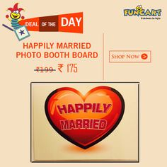 """Get 12% off on """"HAPPILY MARRIED LIFE"""" Photo Booth Board.  #Enjoy and have #fun with #funcart products.  #DealofTheDay #PartySupplies #Party #PartyHardPartyy"""