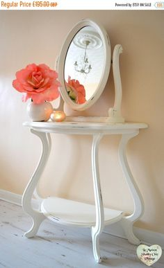 SALE 35% OFF Large White Dresser Vanity Console Table & Tilt Mirror French Shabby Chic Dresser Free Local Delivery by LaMaisonShabbyChic on Etsy