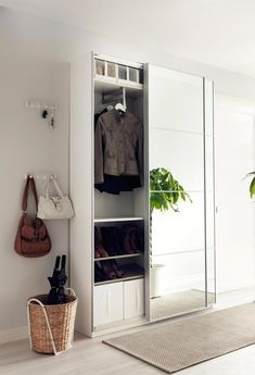 Ikea PAX wardrobe for storage in the hallway. Ikea Hallway, Hallway Storage, Storage Mirror, Storage Room, Ikea Entryway, Hallway Closet, Ikea Storage, Bedroom Organization, Armoire Entree