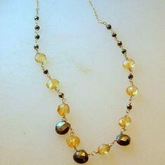 SIENNA - lustrous luxurious and elegant feminine necklace with gold fill chain citrine and pyrite