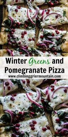 Winter Greens and Pomegranate Pizza - Climbing Grier Mountain Store Bought Pizza Dough, Delicious Dinner Recipes, Yummy Food, Persian Chicken, Sauteed Greens, Tamale Pie, Best Side Dishes, Collard Greens