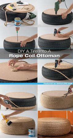 Beautiful DIY Rope Ottoman with a Used Tire - totally making thisPlans of Woodworking Diy Projects - Pneu fauteuil Get A Lifetime Of Project Ideas & Inspiration!rope-tire-ottoman More DIY Posts from DIY for Life Comments commentsRope or get Ikea roun Woodworking Projects Diy, Teds Woodworking, Diy Projects, Project Ideas, Upcycling Projects, Woodworking Techniques, Diy Home Crafts, Diy Home Decor, Rope Crafts