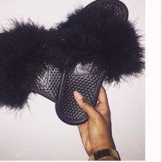Black furry Nike slides Size8 Nike Shoes Slippers