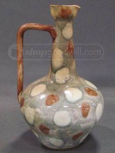 Vintage Clay Pottery Glazed Pitcher