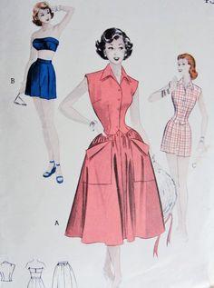 1950s BeachWear Pattern Butterick 6165 Rockabilly Pin Up Bra SwimSuit Top High Waist Shorts, Weskit and Skirt  Mix n Match Weekend Wardrobe Bust 34 Vintage Sewing Pattern