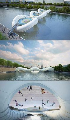 A bridge in Paris that lets you hop right on over......