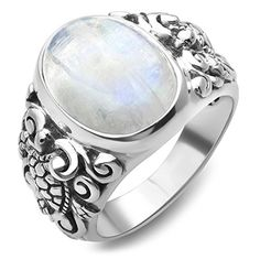 925 Sterling Silver Natural Moonstone Gemstone Filigree Sea Turtle Band Ring Size 6, 7, 8 * Be sure to check out this awesome product.