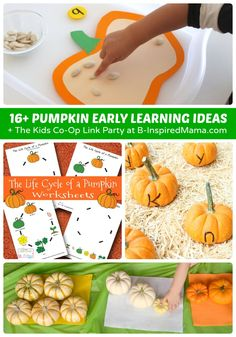 16+ Pumpkin Theme Early Learning Ideas + The Weekly Kids Co-Op Link Party at B-Inspired Mama